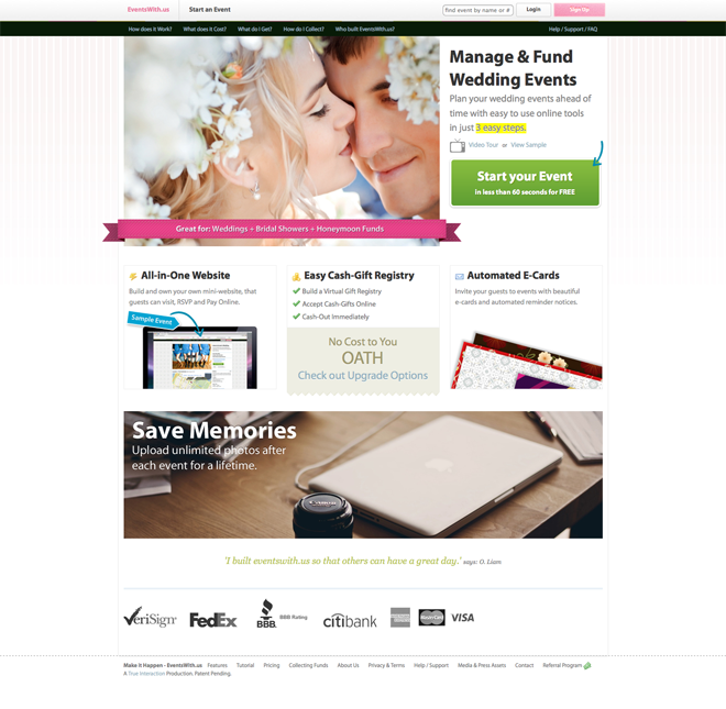 Manage, Fund and Share your Wedding with EventsWith.Us