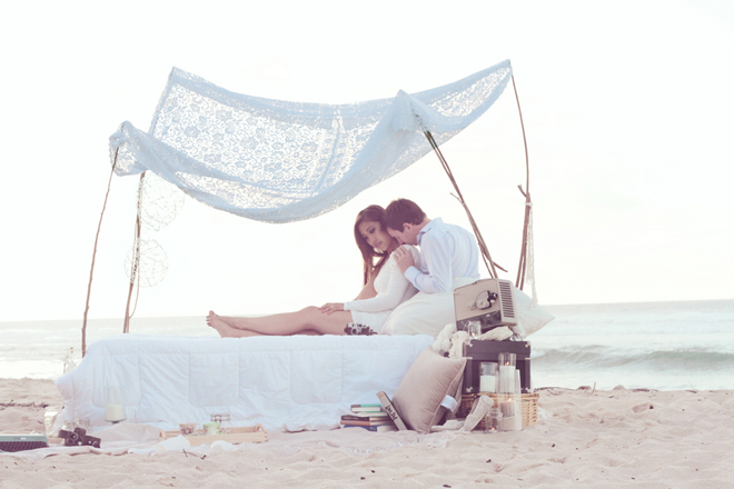 Bedroom on a Beach Engagement Session