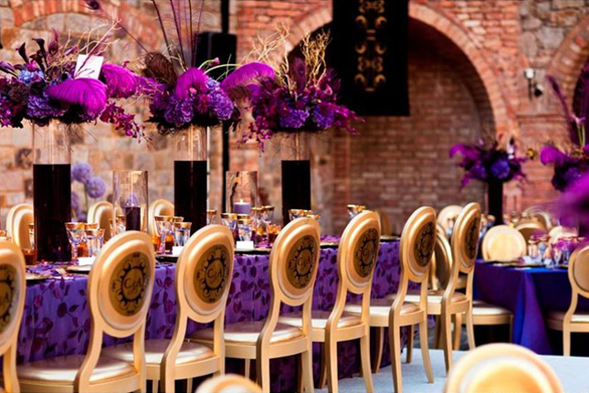 Wedding inspiration stunning purple gold decor belle for Balloon decoration color combinations