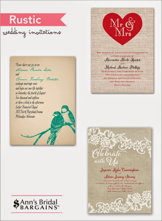 Rustic is in with Ann's Bridal Bargains + Offer