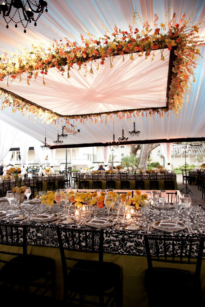 Suspended Wedding Centerpieces + Floral Chandeliers