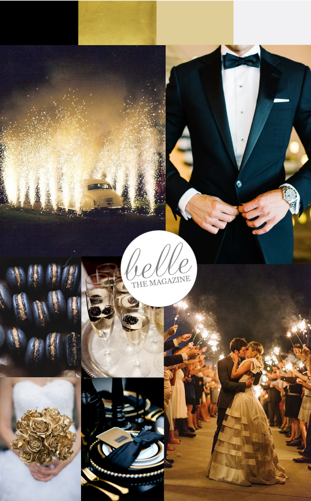Glamorous Black Tie Wedding with touches of gold