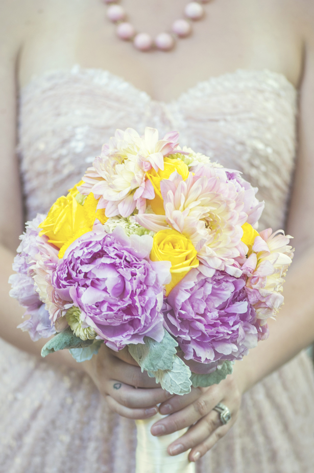 Pink yellow wedding bouquet