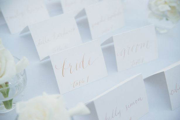 White and gold place cards