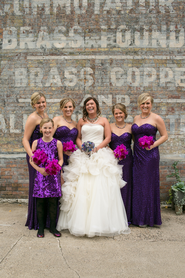 Purple Sequins Bridesmaid Dresses