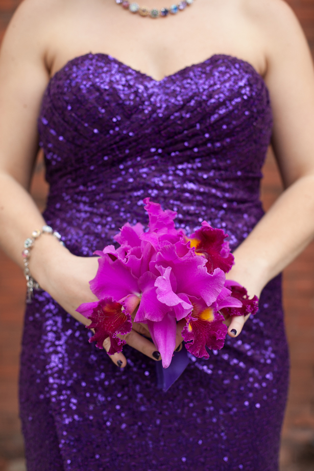 Purple sequins bridesmaid dress and bouquet