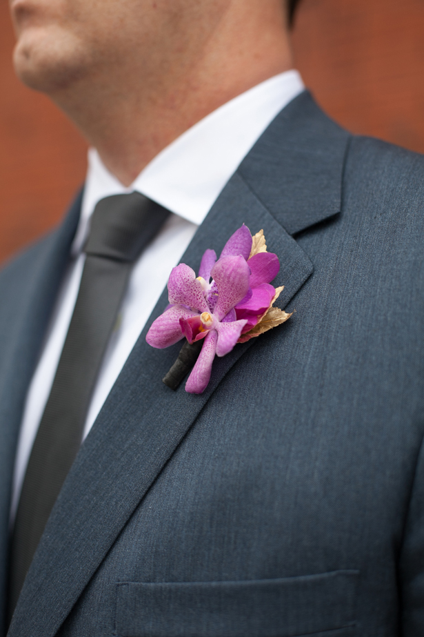 Purple Orchid Wedding Boutonnier