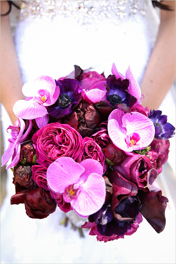 Purple and Magenta Wedding Bouquet