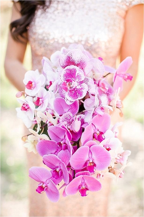 Pink Cascading Wedding Bouquet – ove Janet Photography
