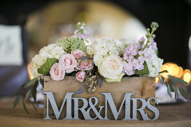 Wedding Flowers on Wood Box
