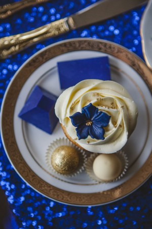 Royal Blue and Gold Wedding Desserts