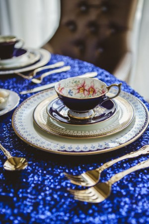 Royal Blue and Gold place setting
