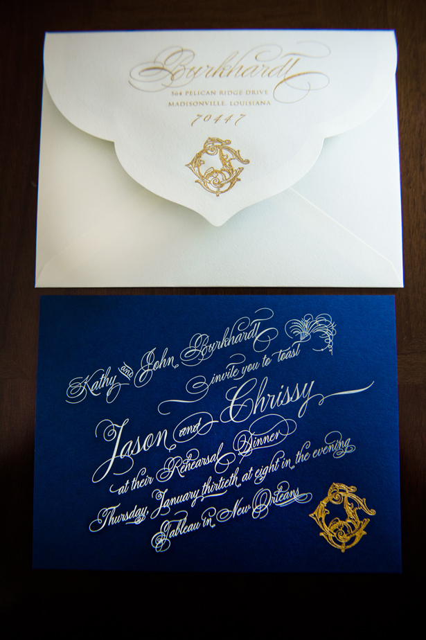 navy blue elegant wedding invites