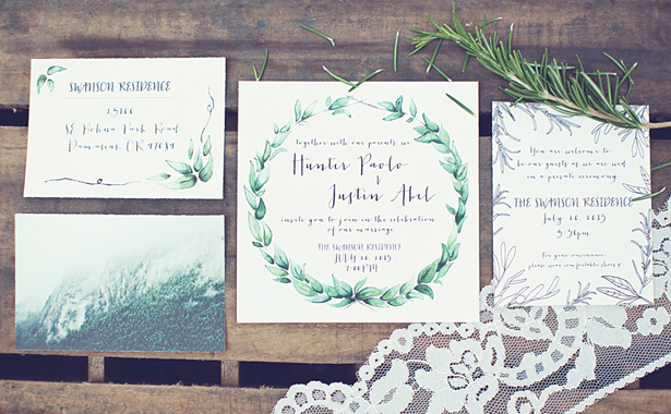 Organic + Rustic Wedding invites
