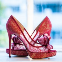 Red Lace Wedding Shoes Valentino - Will Pursell Photography