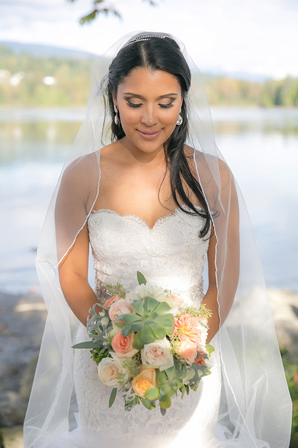 bride and succulent bouquet
