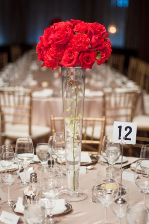 Tall red centerpiece