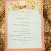 God and pink wedding menu - Will Pursell Photography