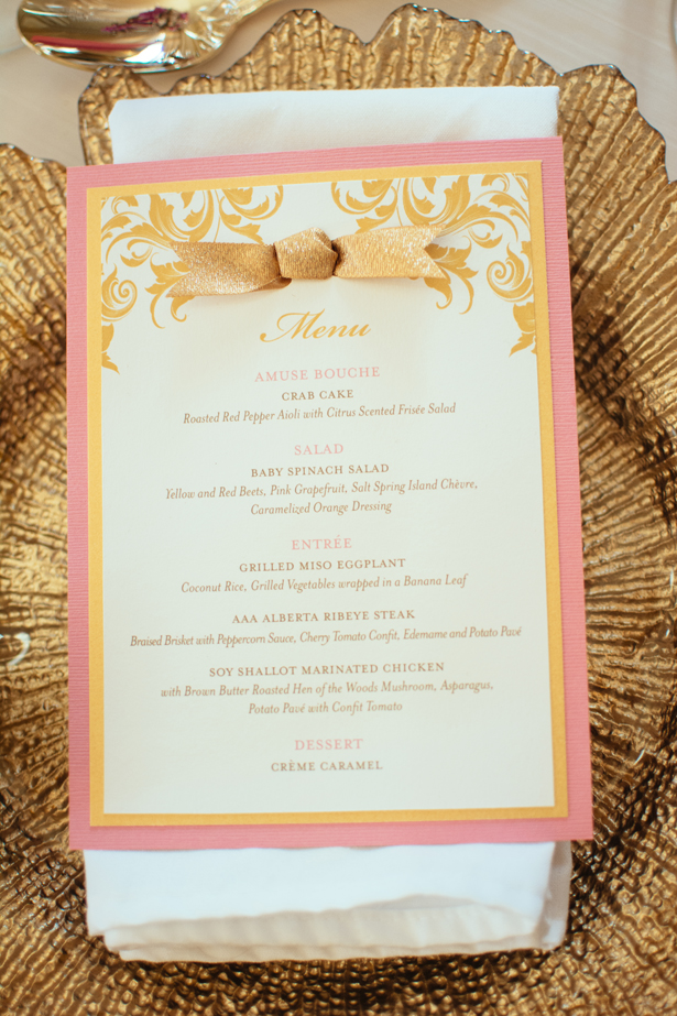God and pink wedding menu