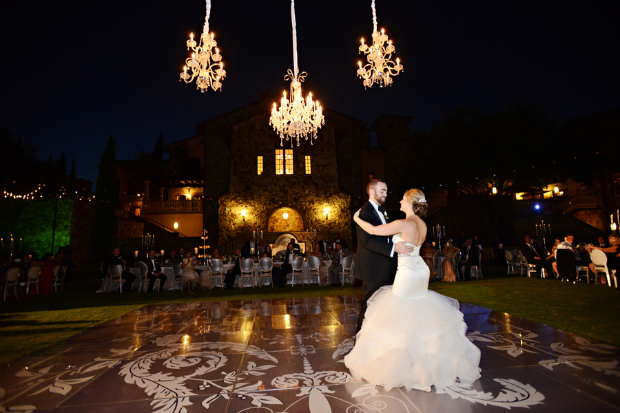 Chandeliers on Wedding Dance Floor