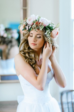 Bride on Floral Crown ~ Pasha Belman Photography