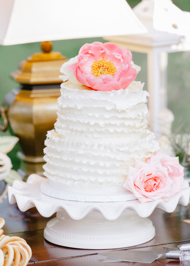 White Ruffled Wedding Cake ~ Pasha Belman Photography