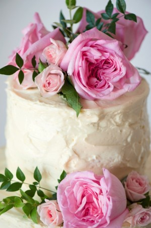Pink Roses Wedding Cake ~~ Jill Lauren Photography