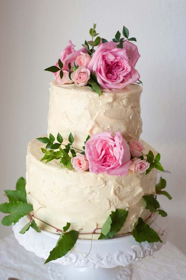 Cream Wedding Cake with Pink Roses