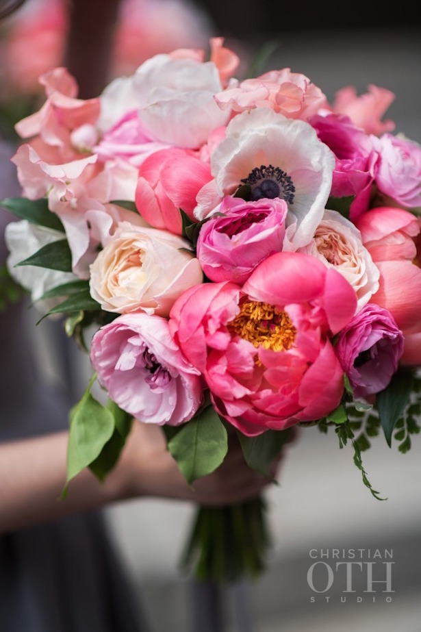 Coral and lavender Wedding Bouquet
