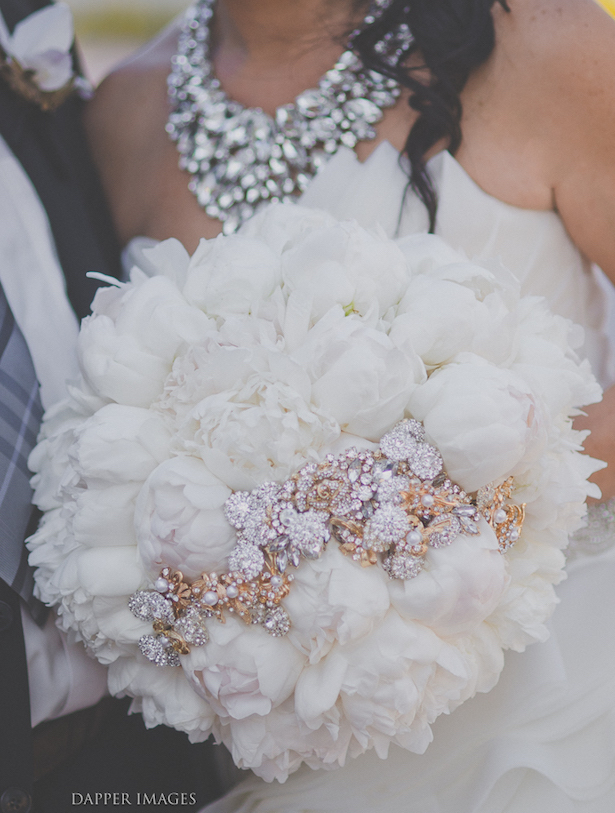 Flowers and brouches white Wedding Bouquet