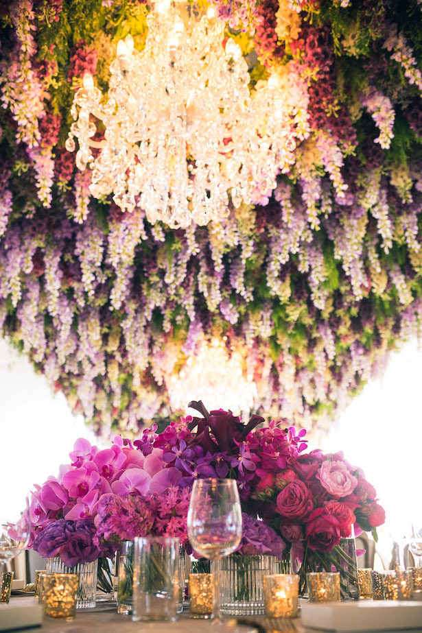 Hanging flowers and chandeliers