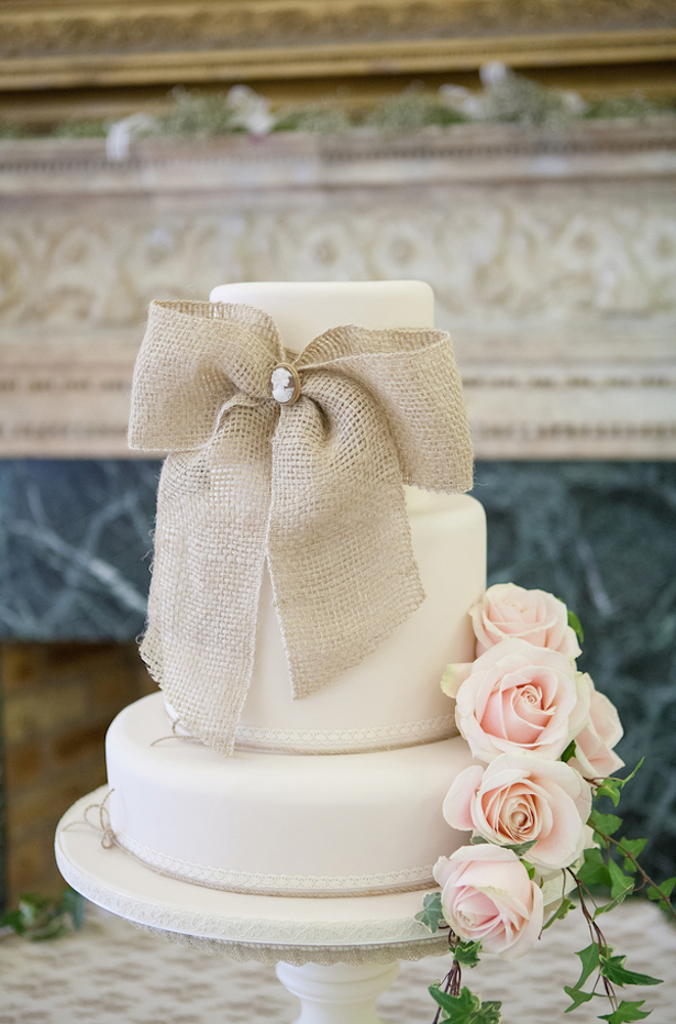 Wedding Cake with Burlap ~ Steven Hanna Photography