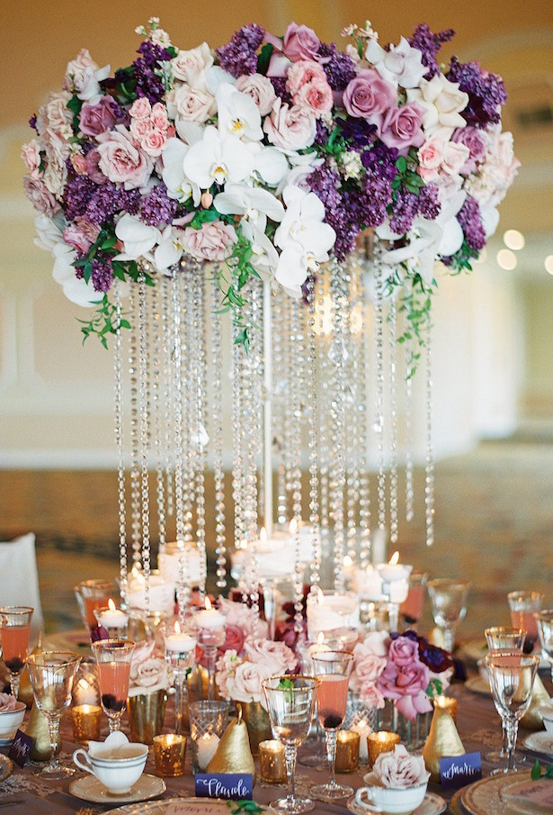 Low Purple Wedding Centerpiece