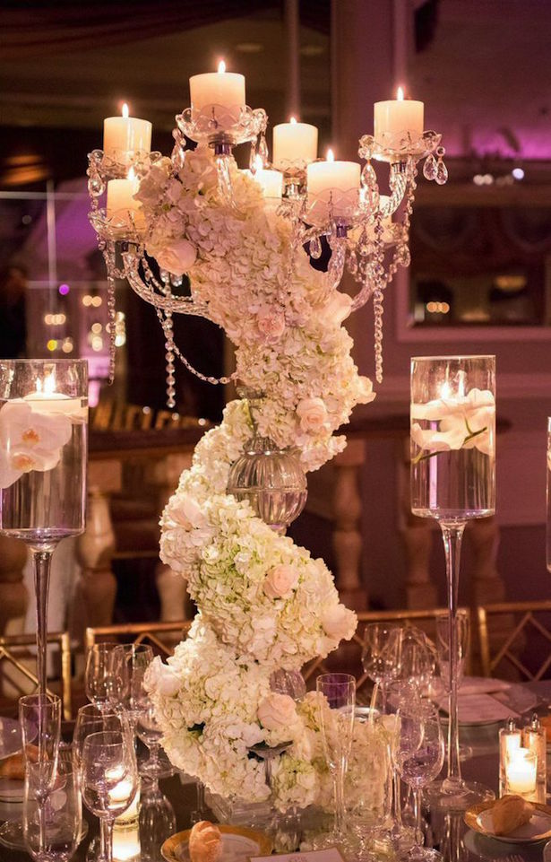 Low White Wedding Centerpiece