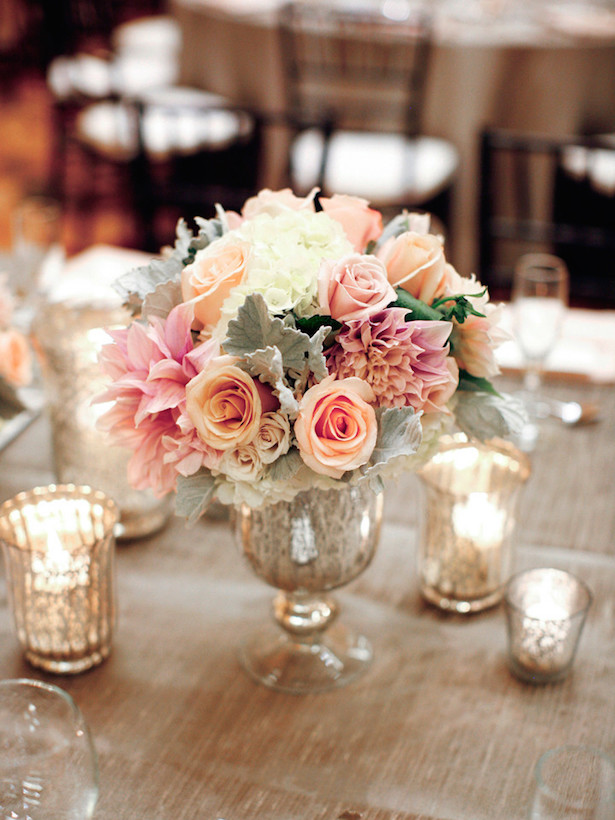 Low Peach Wedding Centerpiece