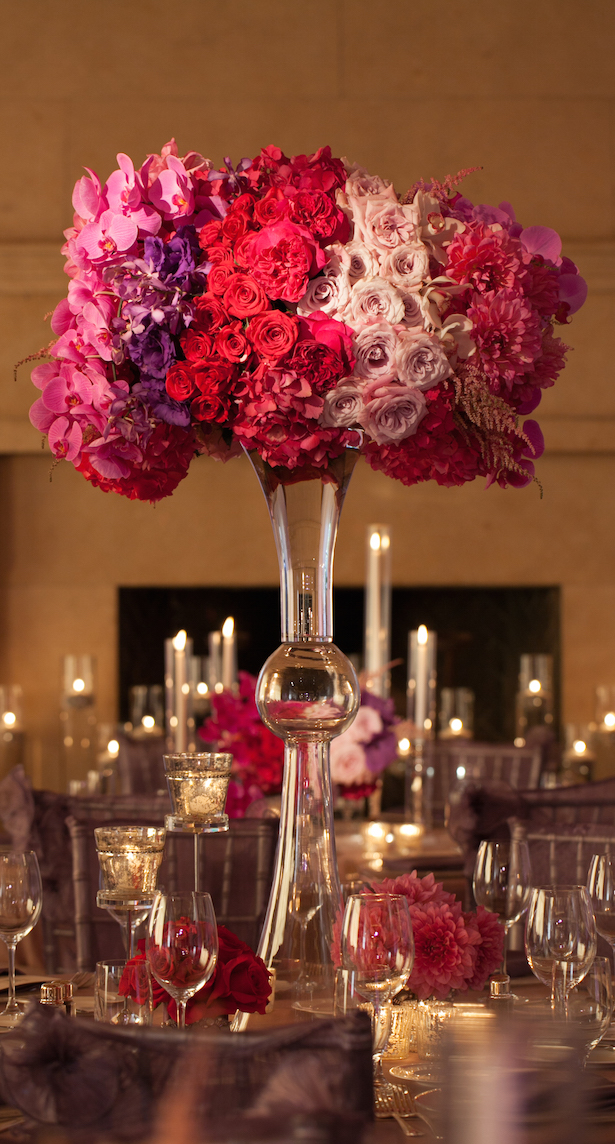 Tall red,pink and purple  Wedding Centerpiece