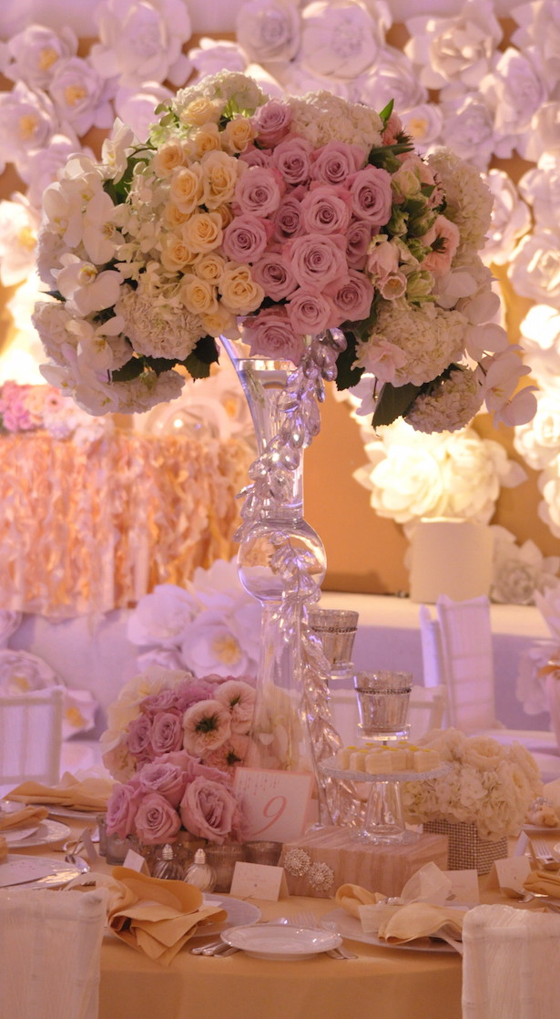 Tall Blush Wedding Centerpiece - via White Lilac Inc.