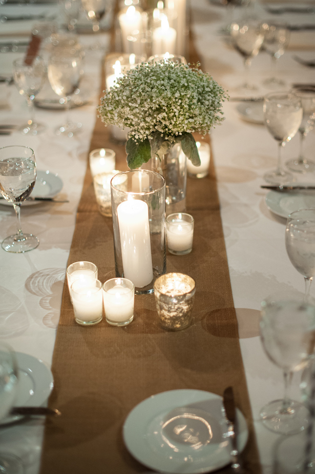 Rustic wedding decor ben elsass photography belle the for Long table centerpieces