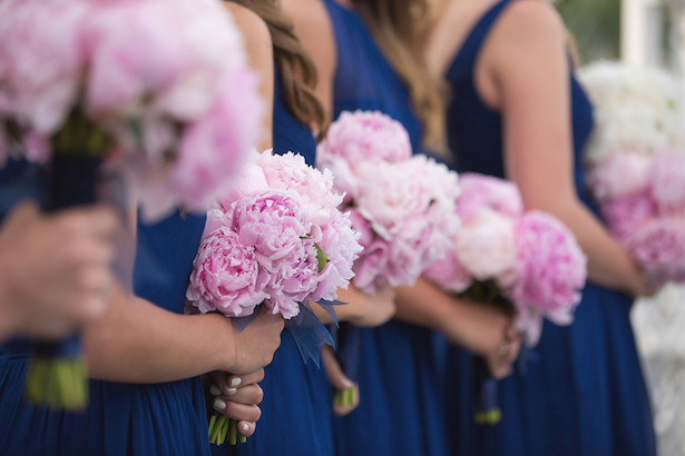 Blue Bridesmaid Dresses and Pink Peony bouquets