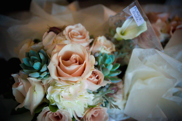 Peach Roses and Succulents Wedding Bouquet - Matthew J. Wagner Fine Photography