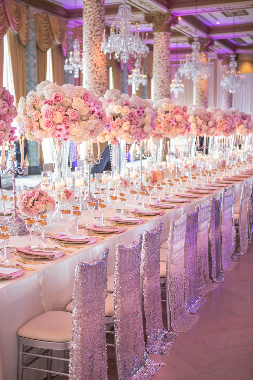 Wedding ideas long reception tables belle the magazine for Wedding banquet decorations