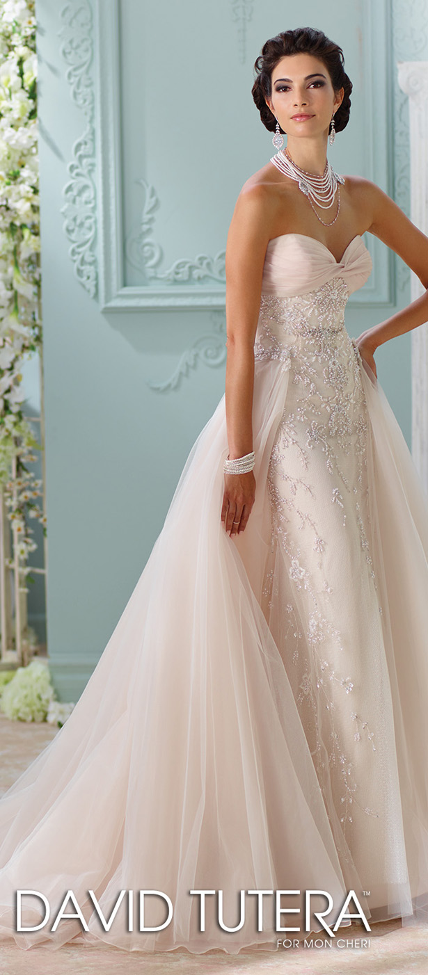 Bridal trends wedding dresses with detachable skirts belle the david tutera for mon cheri spring 2016 wedding dress ombrellifo Choice Image