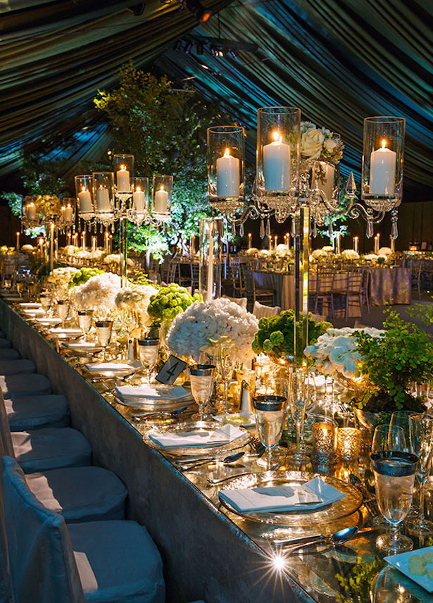 wedding mirror decorations table centerpieces tables event decor weddings theme colin cowie crystal candle reception pillar decoration gold candles setting
