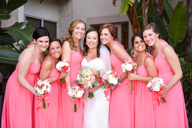 Coral Bridesmaid;s Dresses - Stephanie Rose Events and Heather Elise Photography