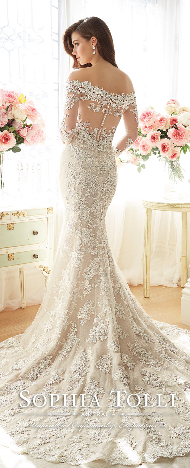 Off-the-Shoulder Wedding Dress by Sophia Tolli Spring 2016