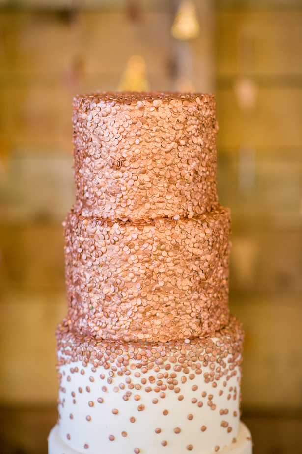 Metallic Wedding Cake - Rachel Peters Photography