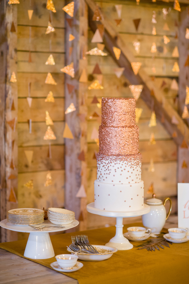 Metallic Wedding Cake: Fall Wedding Inspiration - Rachel Peters Photography