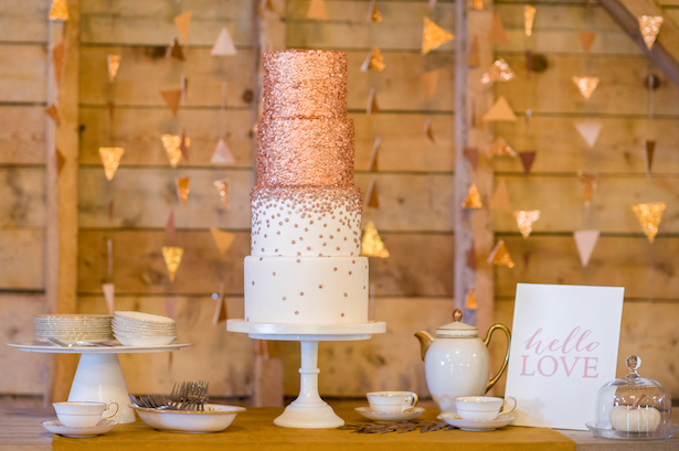 Metallic Wedding Cake - Fall Wedding Inspiration - Rachel Peters Photography