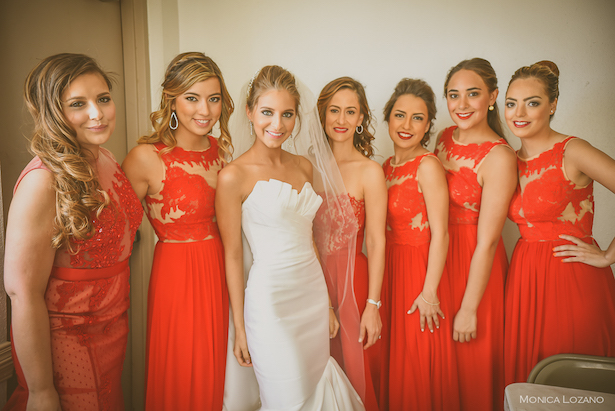Red Lace Bridesmaid Dresses - - Occasio Productions #BTMVendor and Monica Lozano Photography