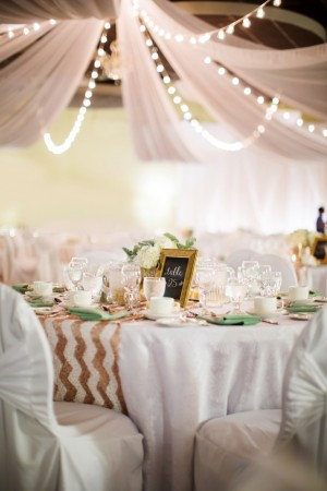 Mint and Gold Sequins #Wedding Tablescape - Caroline Ross Photography